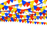 Bunte Flagge Garland With Text Space Stockfoto