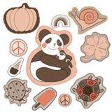 Bunte Fleckensammlung der glücklichen Stickerei vector Illustration für Aufkleber, Magneten, Grußkartendekoration Lizenzfreies Stockfoto