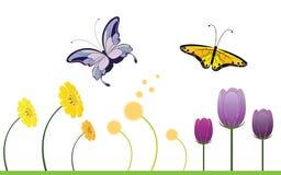Bunte Frühlings-Blumen und Schmetterling Stockfotos