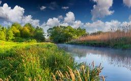 Bunte Frühlingslandschaft auf nebelhaftem Fluss Stockbild