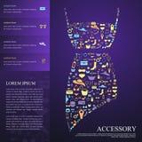 Bunte Frauenmode, Kleidung und Zubehörikone infographi Stockfoto
