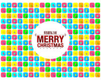 Bunte frohe Weihnacht-Ikone Stockfoto