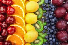 Bunte Fruchtreihen Stockbild