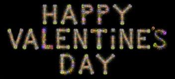 Bunte funkelnde horizontale Querstation der Feuerwerke des glücklichen Valentinstags Stockfotos