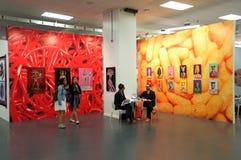Bunte Galerieanzeige in Art Show Stockfotos