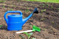 Bunte Gartenwerkzeuge, eine blaue Plastikgießkanne und Rührstange Stockfoto
