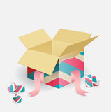 Bunte geöffnete gestreifte Geschenkbox Stockfotos