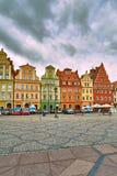 Bunte Gebäude auf alter Stadt Breslaus Breslau ist die größte Stadt in West-Polen und in der historischen Hauptstadt von Schlesie Stockbild