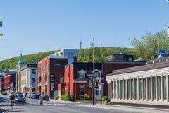 Bunte Gebäude in Montreal Stockfotos