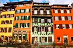 Bunte Gebäude in Straßburg Stockfotografie