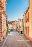 Bunte Gebäude - Trebon, Tschechische Republik, Europa Stockfotos