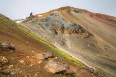 Bunte Gebirgslandschaft Landmannalaugar, Brennisteinsalda V Stockfotografie