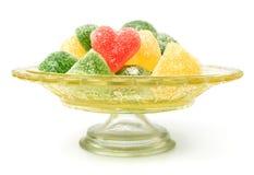 Bunte Geleesüßigkeiten in Form des Herzens Lizenzfreies Stockbild