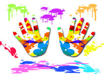 Bunte gemalte Hand Vektor Abbildung