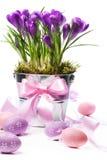 Bunte gemalte Ostereier und Frühlingsblumen Lizenzfreies Stockfoto