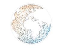 Bunte geometrische abstrakte Erdkugelbereich-Vektorgraphik-Schablonenkonzeptillustration lokalisiert auf hellem weißem Hintergrun stock abbildung