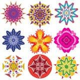 9 bunte geometrische Blumengraphiken Stockfotos