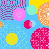 Bunte geometrische Elemente Memphis-Hintergrund Modernes abstraktes Designplakat, Abdeckung, Kartendesign Auch im corel abgehoben stock abbildung