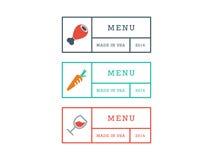 Bunte geometrische Hippie-Artrestaurantmenüausweiszeichen-Vektorgraphikschablone lokalisiert auf weißem Hintergrund Lizenzfreie Stockfotografie