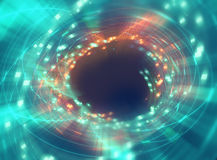 Bunte geometrische Kreis-tunnelshape Zusammenfassungs-Technologierückseite Stockfoto