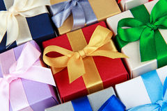 Bunte Geschenkboxen Stockbild