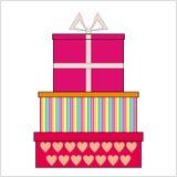 Bunte Geschenkboxen auf weißem Hintergrund Lizenzfreies Stockfoto