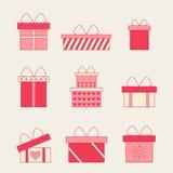 Bunte Geschenkboxen mit Bögen und Bandvektorsatz Lizenzfreies Stockfoto