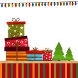 Bunte Geschenke für Feier der frohen Weihnachten lizenzfreie abbildung