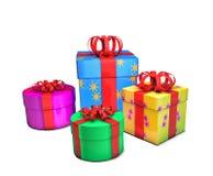 Bunte Geschenke, lokalisiert auf Weiß Lizenzfreies Stockfoto