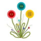 Bunte gestickte Knopf-Blumen Lizenzfreies Stockfoto