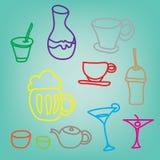 Bunte Getränk- u. Getränkeikonen stellten auf blauen Hintergrund ein Stockfoto