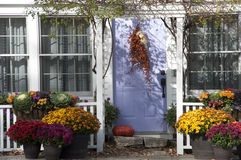 Bunte getrocknete Blumen verzieren Haupteingang Stockfoto
