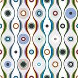Bunte gewellte Linien und Kreistextilnahtloses Muster Lizenzfreies Stockfoto