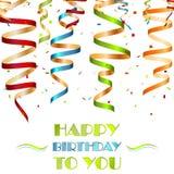 Bunte gewundene Bänder, Hintergrund für Ihren Geburtstag wünscht Stockfotografie