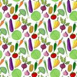 Bunte gezeichnetes nahtloses Muster des Gemüses Hand Auch im corel abgehobenen Betrag Stilisierter Gemüsehintergrund für Design Stockbilder