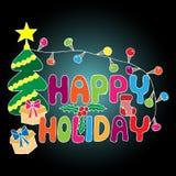Bunte glückliche Feiertagsaufschrift mit Baum des neuen Jahres, Geschenk mit Stockbild
