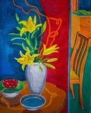 Bunte Gouachemalerei von zwei Räumen mit Blumen stockbild