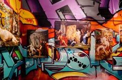 Bunte Graffiti auf der Wand Stockfotografie