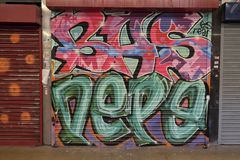 Bunte Graffiti in Croydon, Großbritannien stockfotos