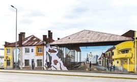 Bunte Graffiti die Verzierung von den Hauptstraßen in Punta Arenas Stockbilder