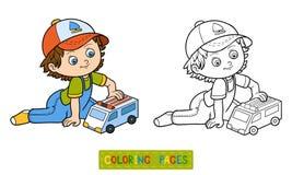 Bunte grafische Abbildung Spiele des kleinen Jungen mit Krankenwagenauto vektor abbildung