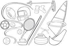 Bunte grafische Abbildung Sport-Ausrüstungs-Satz Stockbilder