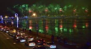Bunte großartige Feuerwerke gewidmet bis Jahresende-2017 Lizenzfreies Stockfoto