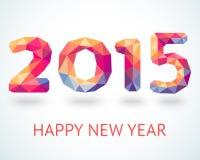 Bunte Grußkarte des guten Rutsch ins Neue Jahr 2015 Stockfotos