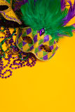 Bunte Gruppe von Mardi Gras oder von venetianischer Maske oder Kostüme auf einem y Lizenzfreie Stockfotos