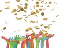 Bunte Hände und Goldmünzen auf weißem Hintergrund illustrati 3d stock abbildung