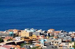 Bunte Häuser in Achada-Sao Filipe Stockbilder