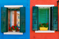 Bunte Häuser auf dem Burano, Venedig, Italien Stockfotos