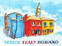 Bunte Häuser auf dem Burano, Venedig, Italien stock abbildung