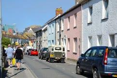 Bunte Häuser auf Vorderstraße, Newquay Lizenzfreies Stockfoto
